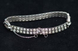 Art deco silver stone bracelet