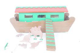 Wooden Noah's ark & animals Length 50 cm