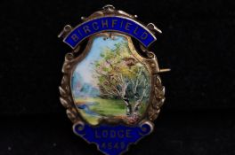 Silver masonic painted enamel brooch, Birch field