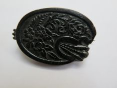 Whitby jet carved brooch 4 cm