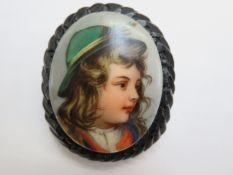 Whitby jet carved portrait brooch