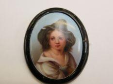 Whitby jet portrait brooch