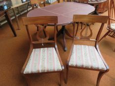 Extending dining table with 4 lyre back chairs
