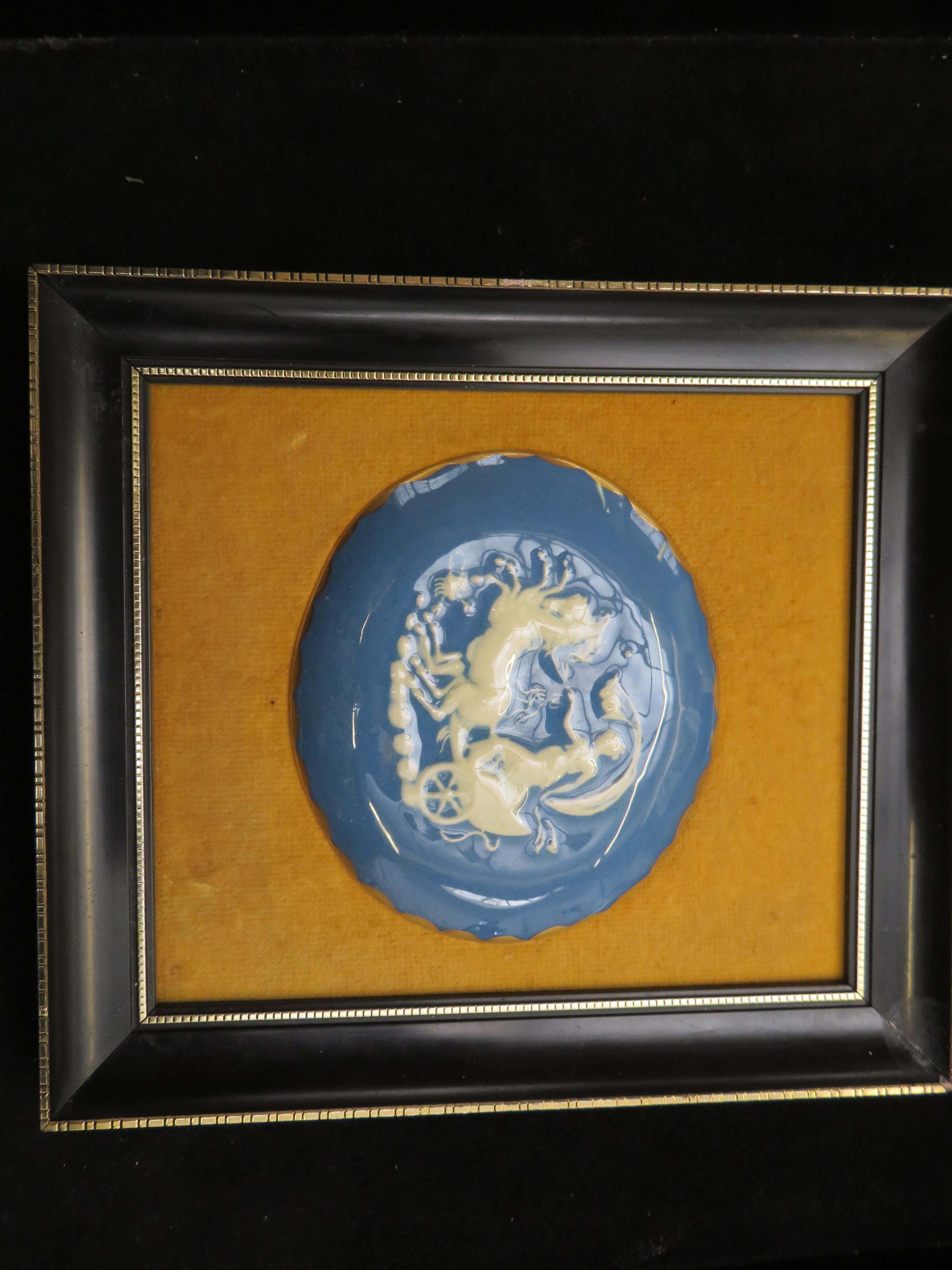 Lot 241 - Framed Pat-Sur-Pat oval plaque (Plaque size 10 cm