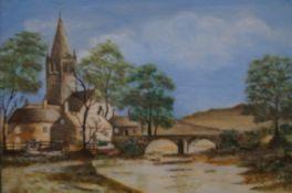 Framed watercolour, church & river scene signed E