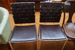 Pair of modern chairs, chrome & leather