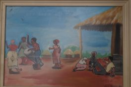 Original African painting, village community Dines