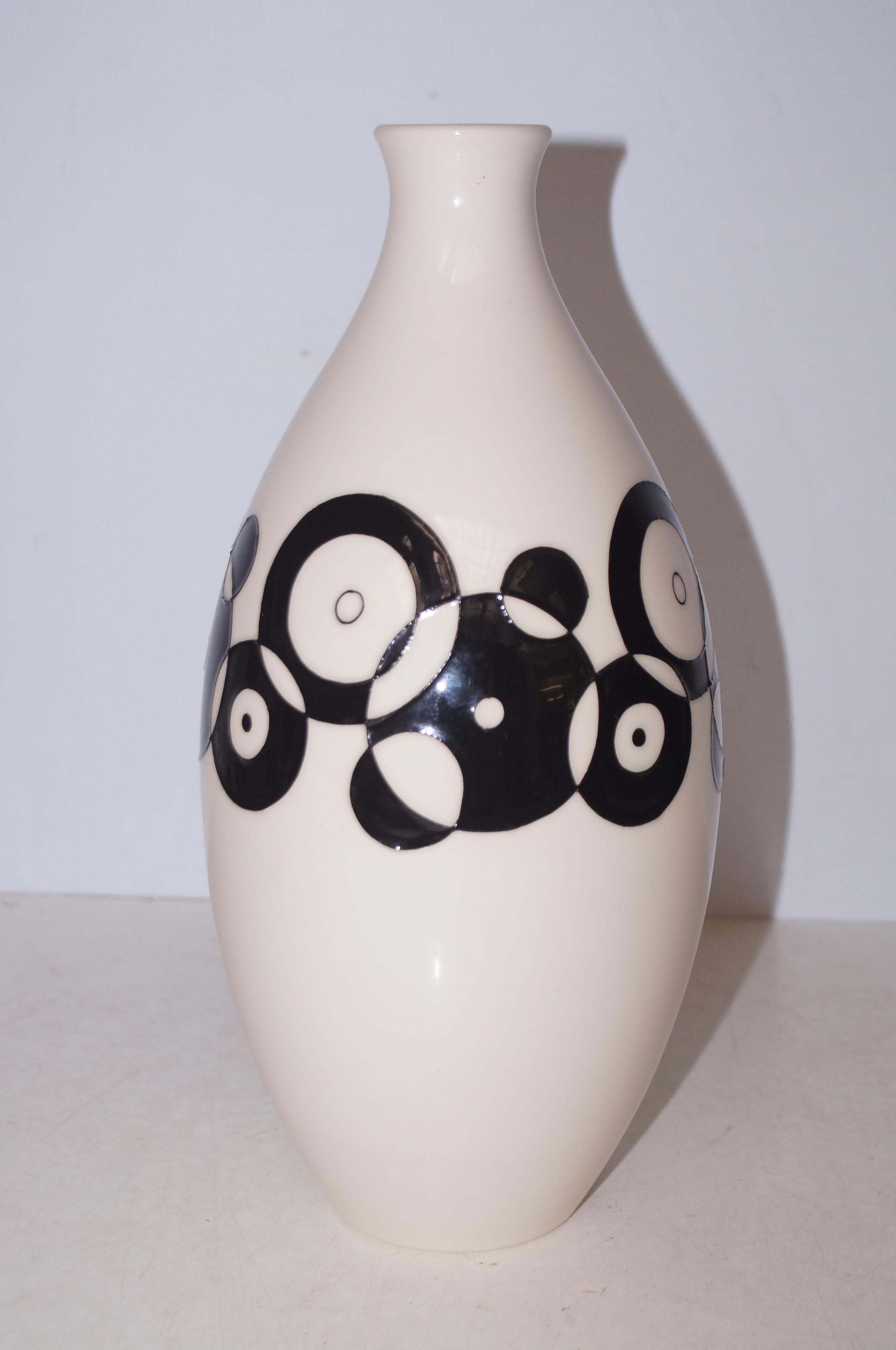 Lot 213 - Moorcroft white & black vase design trial Height 33 cm