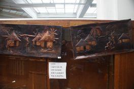2x Tribal art metal wall plaques