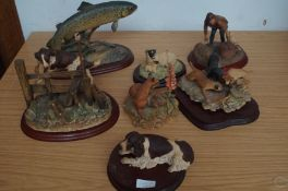 Collection of resin animals, some border fine arts