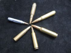 6 Military Rifle shells, deactivated