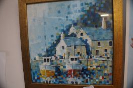 Carl Jacobs framed painting, harbour scene