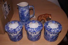 3x Spode sugar, tea, coffee containers, Fenton blu
