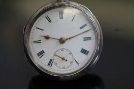 Victorian silver cased open faced pocket watch, La