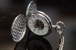 Skeleton pocket watch with chain