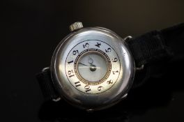 Silver cased trench watch