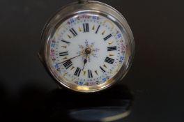 800 Grade Silver enamel face fob watch