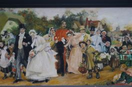 Framed oil on board of a Victorian wedding