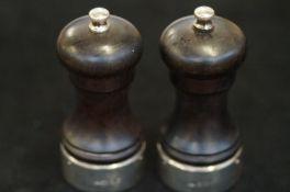 Pair of Silver & Ebony cruets