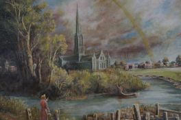 Oil on board church & rainbow scene by the artist