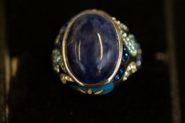 Silver multi coloured stone ring signed