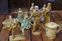 Collection of resin figures to include a Indian tr
