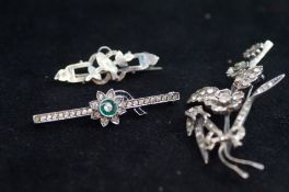 3 Silver early 20th century pin brooches