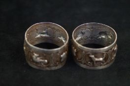 Pair of continental silver napkin rings