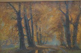 Gilt framed print titled golden autumn