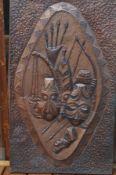 Tribal art copper wall plaque
