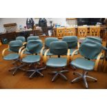 9 Hairdressers stylist swivel chairs with aluminiu