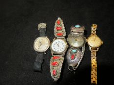 3x Silver wristwatches together with a Tissot wris