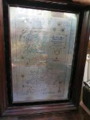A Framed hallmarked silver Sterling map of Great Britain 68cm x