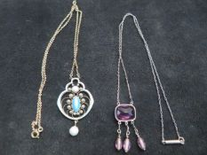 Art Nouveau silver & enamel pendant together with a possibly silver & amethysts pendant and set with