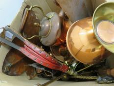 A box of copper ware and others