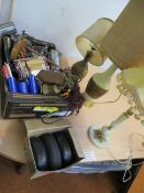 A box of miscellaneous items to include table lamp