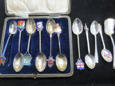 Collection of silver & enamel spoons together with