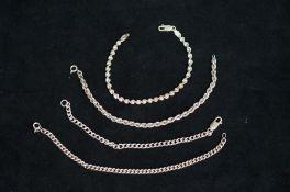 4 Silver Bracelets
