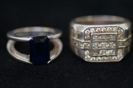 2 Silver Stone Rings