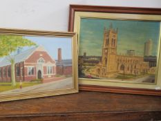 2 x Framed paintings of churches