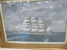 Framed oil schooner close hauled signed E.W Poyser