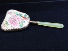 Oriental white metal hand mirror with jadeite hand