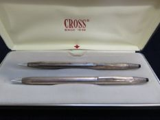 Pair of silver cross pen & pencil set boxed (stamp
