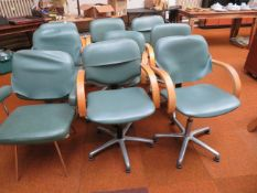 9 x Hairdressers stylist swivel chairs with alumin