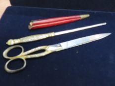 Plated desk set, leather opener & scissors (leathe