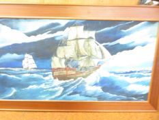 A large signed Painting on board Seascape signed R