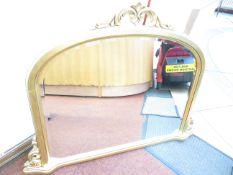 Large Gilt Frame over Mantle Bevelled Mirror