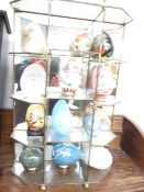 A Collection of Novelty Eggs in Display Case