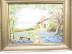 A Oil on Board Cottage Scene