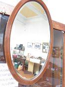 An Edwardian Inlayed Bevelled Mirror